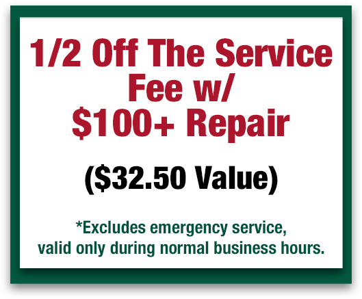 1/2 Off The Service Fee With $100+ Repair